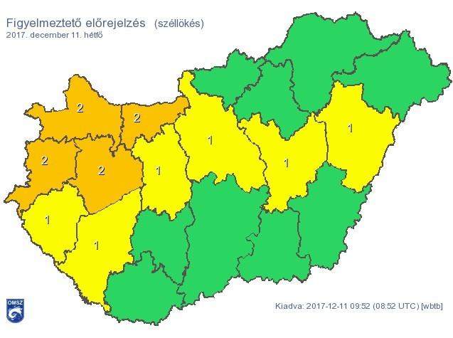 Riasztás - Négy megyében másodfokú, hat megyében és Budapesten első fokú van érvényben