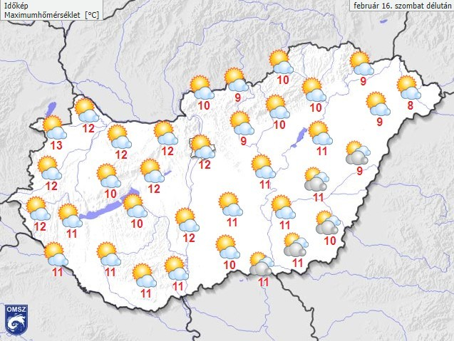 Időjárás-előrejelzés szombat délutánra (met.hu)