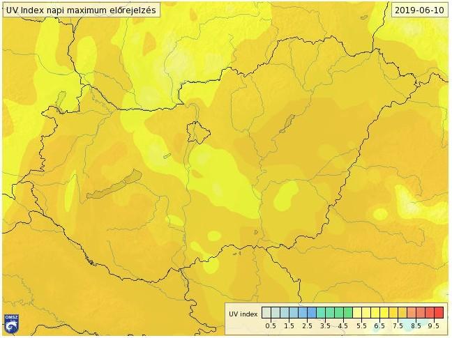 Nagyon erős UV-sugárzásra figyelmeztetnek hétfőre
