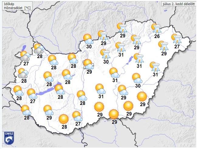 30 napos időjárás előrejelzés