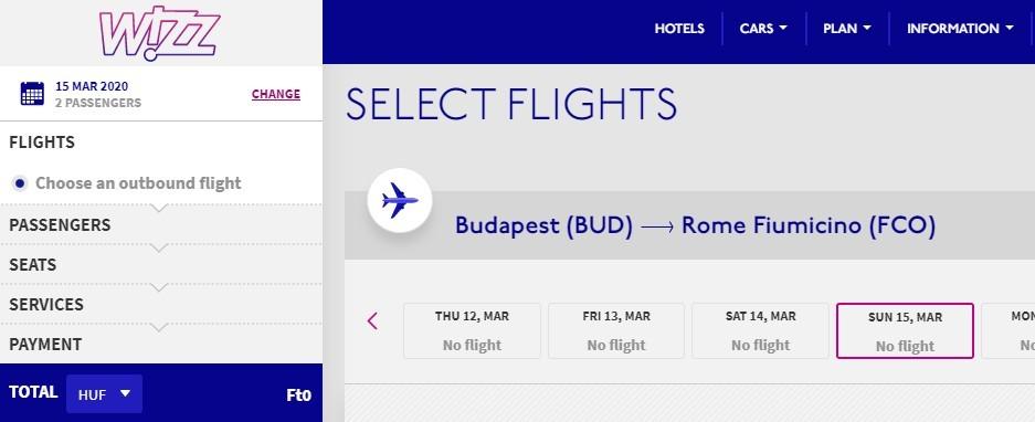 Koronavírus - Nem lehet jegyet foglalni több olasz városba a Wizz Air oldalán