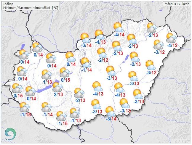 Időjárás-előrejelzés március 16-22-ig hétfőtől vasárnapig
