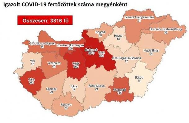 Az aktív fertőzöttek száma 1311 főre csökkent Magyarországon