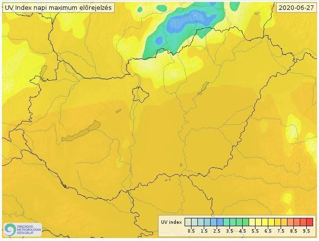 Erős UV-B sugárzás - Forrás:met.hu