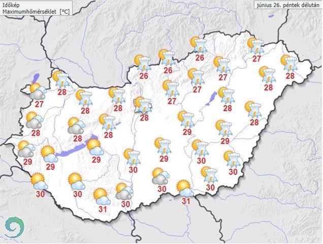 Időjárás-előrejelzés péntekre - Forrás:met.hu