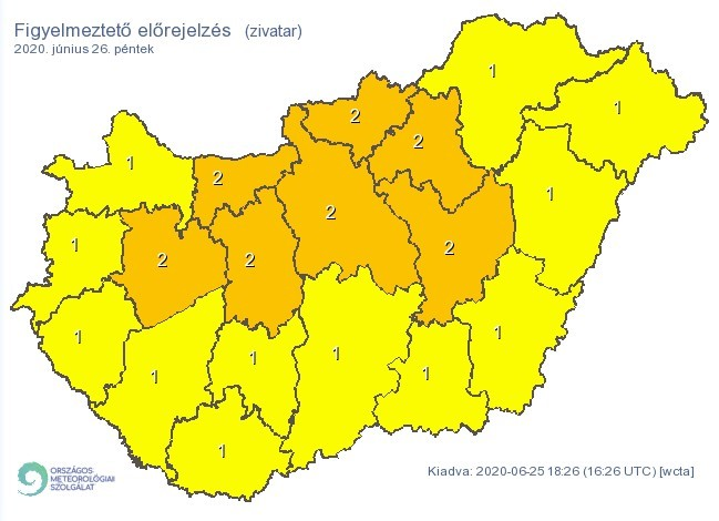 Figyelmeztető időjárás-előrejelzés péntekre - Zivatar