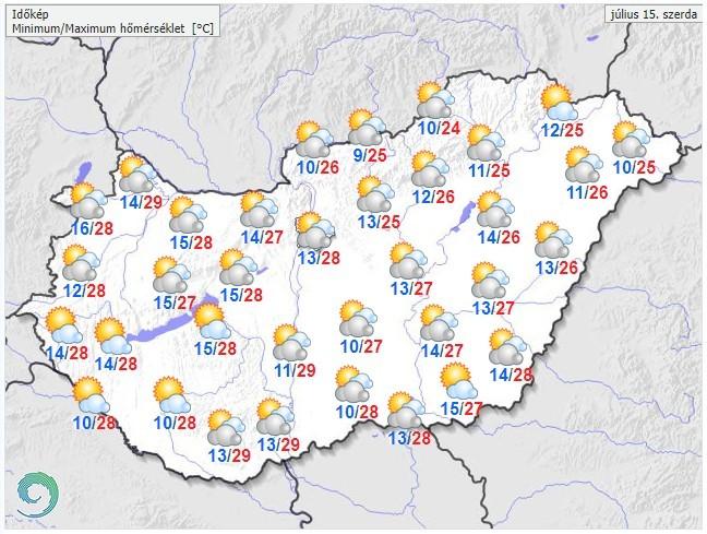 Időjárás-előrejelzés szerdára