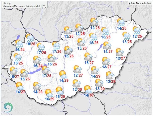 Időjárás-előrejelzés csütörtök és péntekre