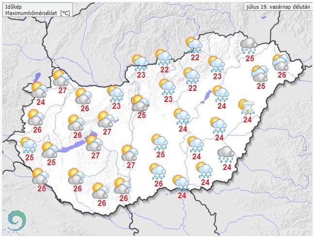 Időjárás-előrejelzés vasárnap délutánra -