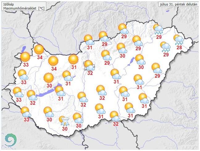 Időjárás-előrejelzés péntekre