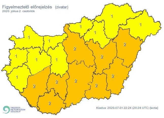 Figyelmeztető időjárás-előrejelzés csütörtökre - Zivatar