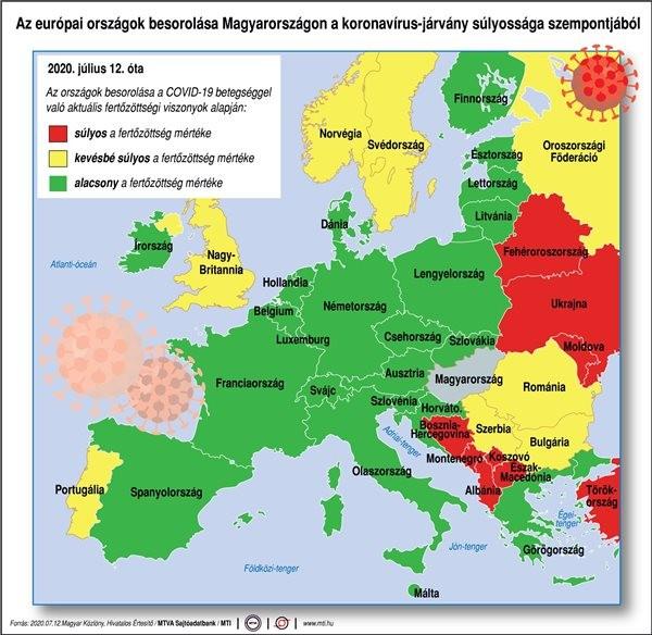 Koronavírus - Térképen a piros, a sárga és a zöld jelzésű országok