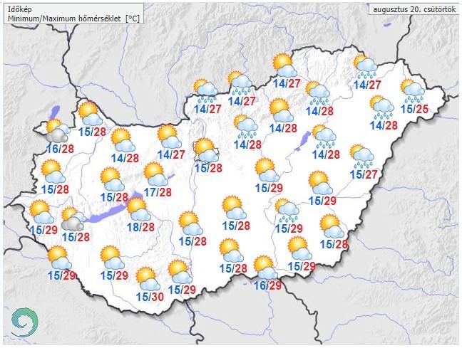 Időjárás-előrejelzés augusztus 20-ra, csütörtökre
