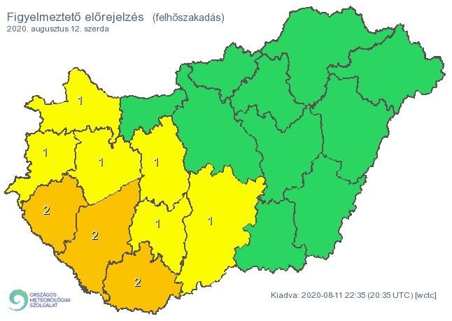 Figyelmeztető időjárás-előrejelzés szerdára - Felhőszakadás - Forrás:met.hu 