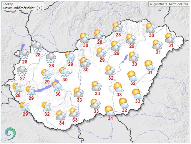 Időjárás-előrejelzés hétfő délután