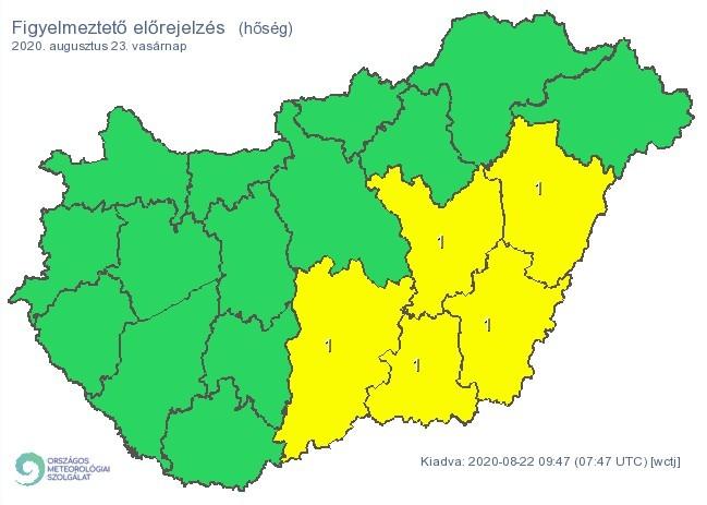   Figyelmeztető időjárás-előrejelzés vasárnapra - Hőség - Forrás:met.hu  