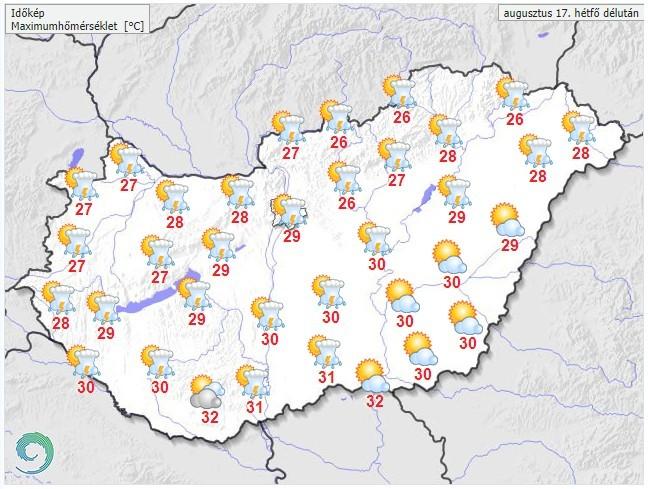 Időjárás-előrejelzés hétfőre