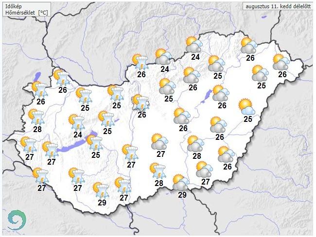 Időjárás-előrejelzés kedd délelőttre