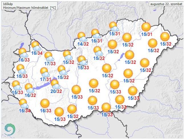   Időjárás-előrejelzés szombatra - Forrás:met.hu  