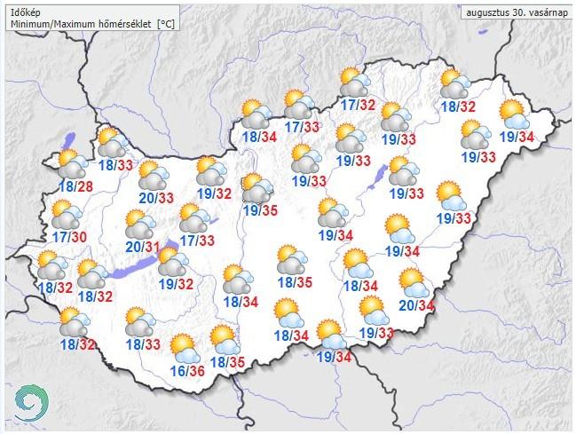 Időjárás-előrejelzés vasárnapra