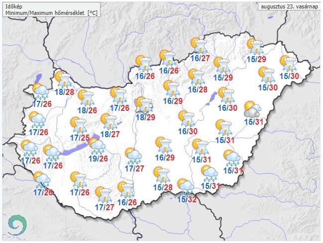   Időjárás-előrejelzés vasárnapra - Forrás:met.hu  
