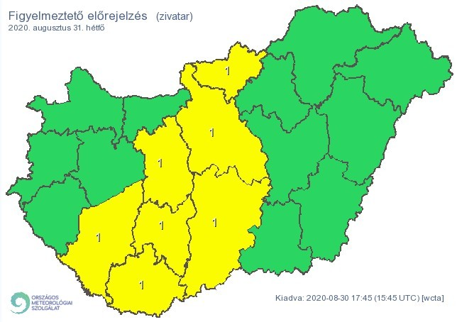 Figyelmeztető időjárás-előrejelzés hétfőre - Zivatar