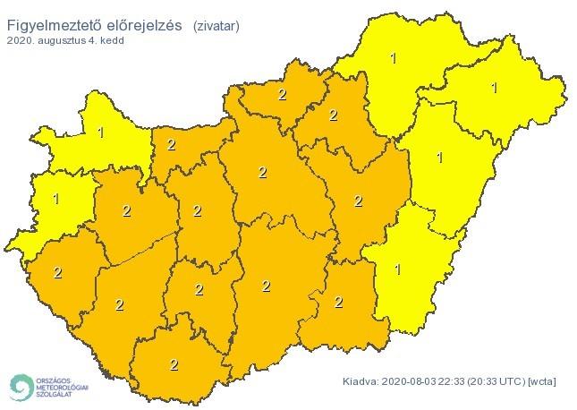 Figyelmeztető időjárás-előrejelzés - Zivatarok