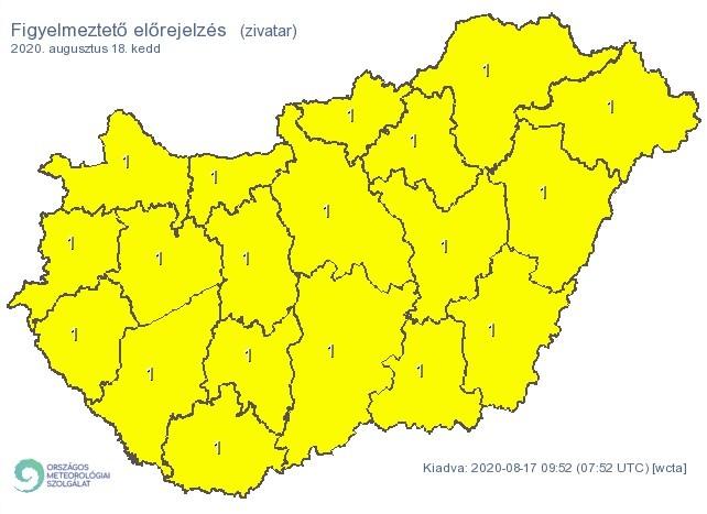 Figyelmeztető időjárás-előrejelzés keddre - Zivatar