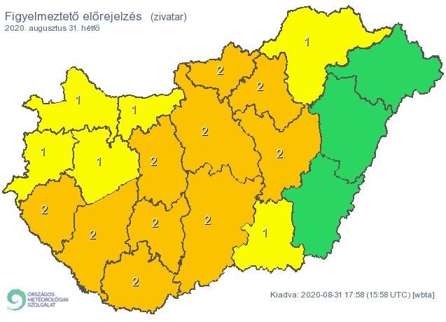 Időjárás-előrejelzés - Vihar - Egyes délnyugati járásokra másodfokú riasztásokat adtak ki
