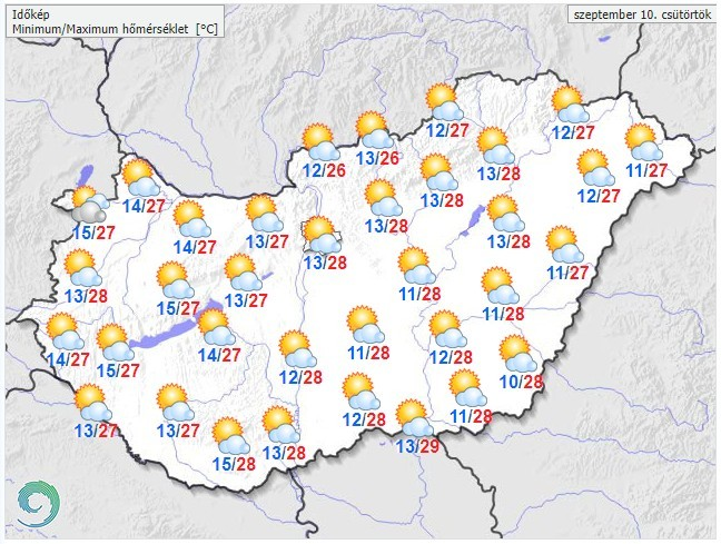 Időjárás-előrejelzés csütörtökön