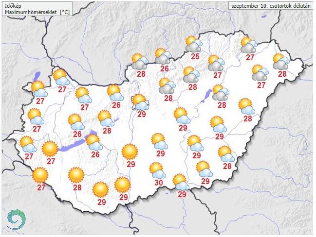 Időjárás-előrejelzés csütörtök délutánra