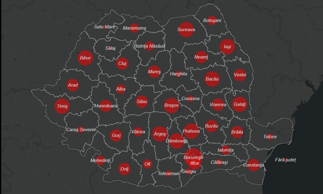 Koronavírus - Romániában közzétették a fertőzöttségi térképet