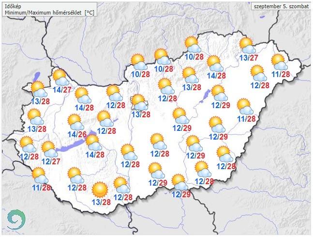 Időjárás-előrejelzés szombat