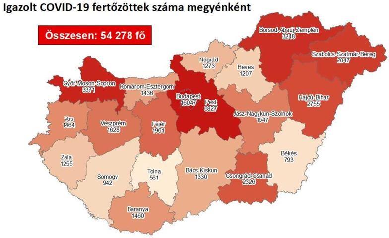 Friss pénteki adatok - Koronavírus-fertőzöttek száma megyékre bontva