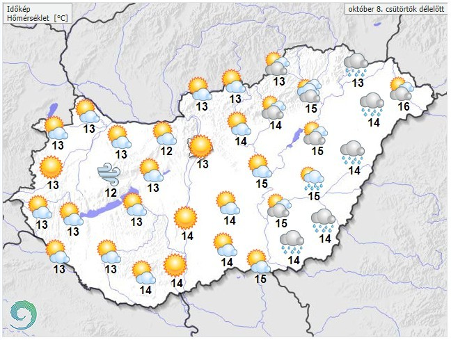 Időjárás-előrejelzés csütörtök délelőttre