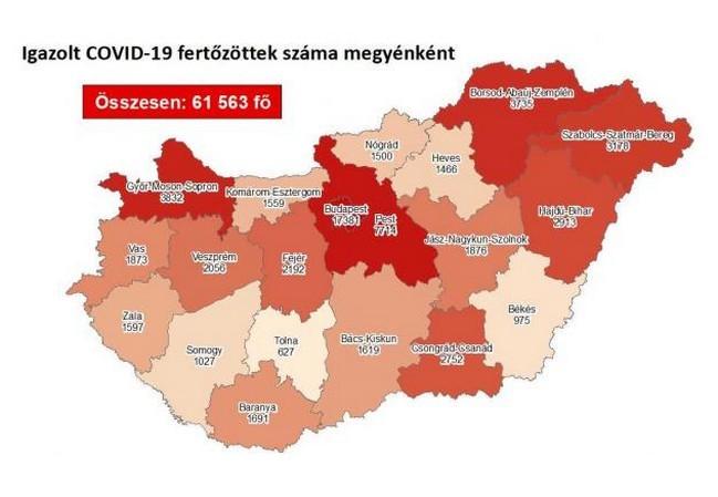 Koronavírus - Fertőzöttek száma megyénként - Itt vannak a friss hétfői adatok