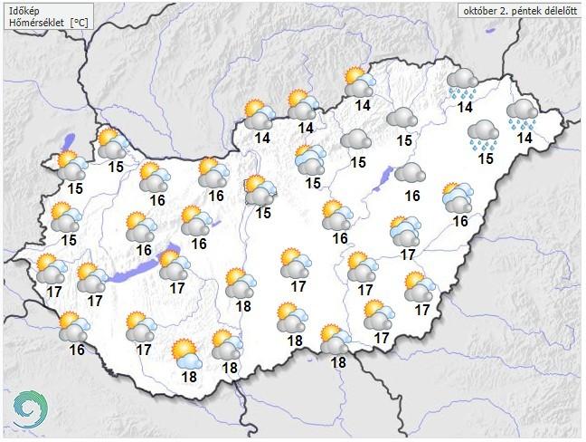 Időjárás-előrejelzéspéntek délelőttre