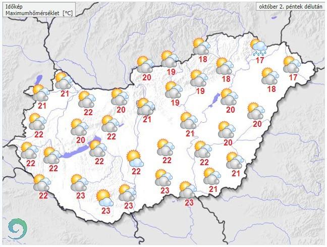 Időjárás-előrejelzéspéntek délutánra
