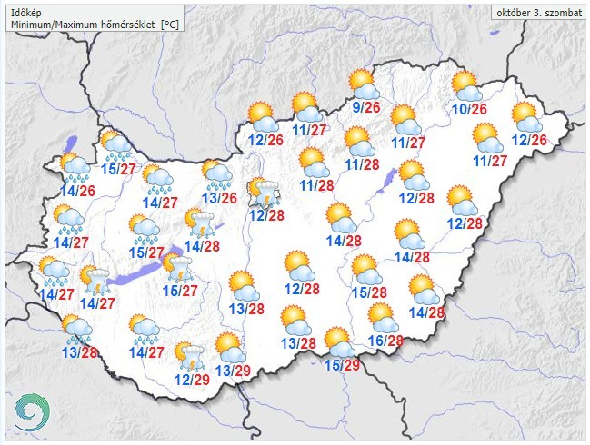   Időjárás-előrőjelzés szombatra  
