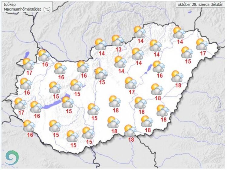 Időjárás-előrejelzés szerda délutánra - Forrás:met.hu