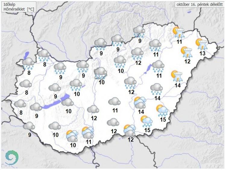 Időjárás-előrejelzés péntek délelőttre