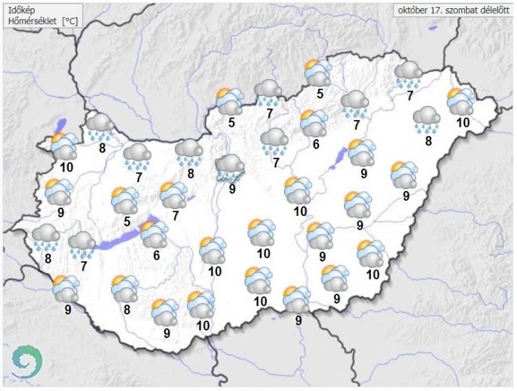 Időjárás-előrejelzés szombat délelőttre