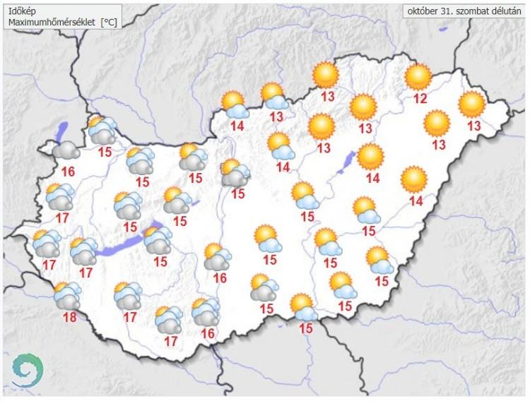 Időjárás-előrejelzés szombat délután