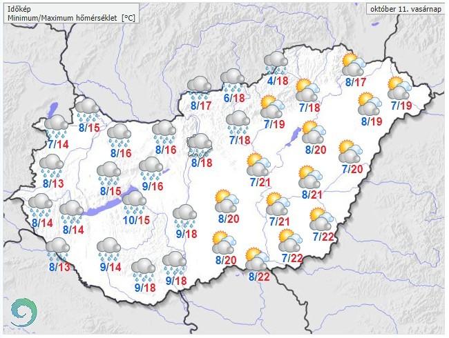 Időjárás-előrejelzés vasárnap