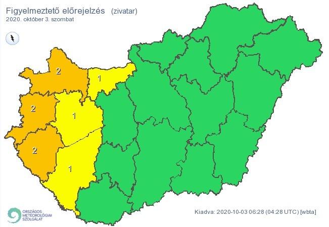 Időjárás-előrejelzés - Zivatarveszély miatt első- és másodfokú figyelmeztetéseket is kiadtak szombatra