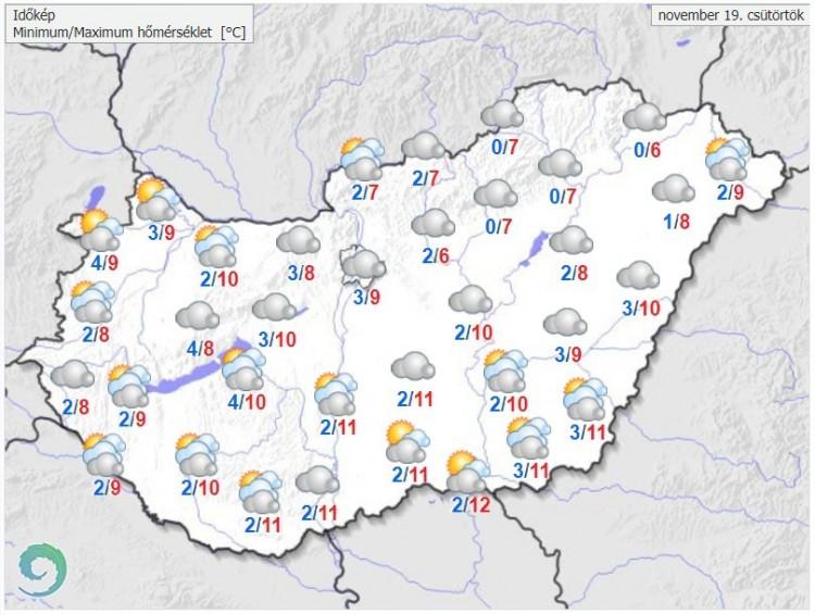 Időjárás-előrejelzés csütörtökre