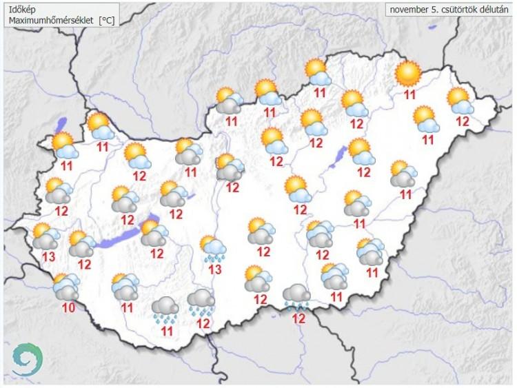 Időjárás-előrejelzéscsütörtök délutánra