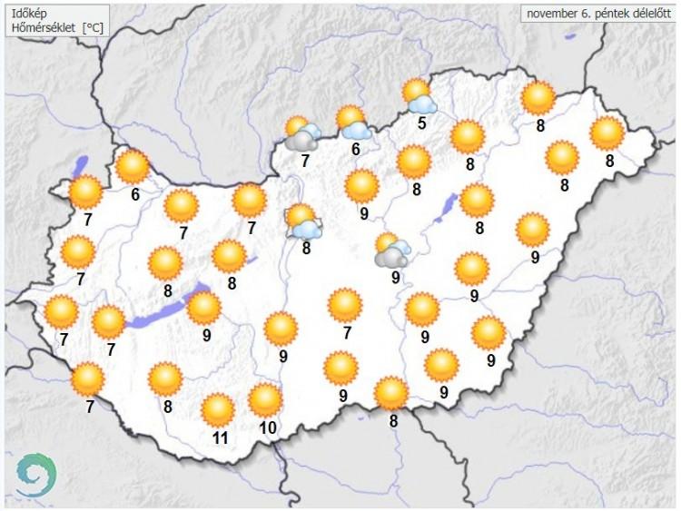 Időjárás-előrejelzés péntek délelőttre - Forrás:met.hu