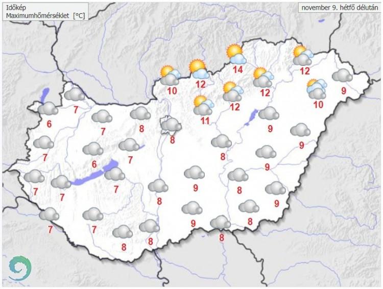 Időjárás-előrejelzés hétfő délutánra