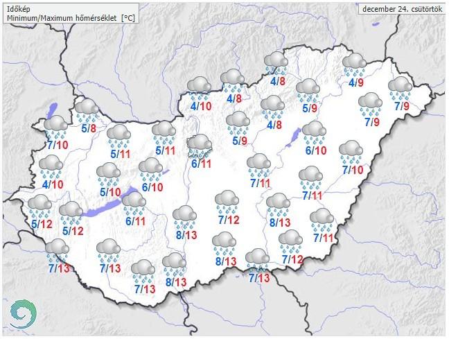 Időjárás-előrejelzés december 24-re, csütörtökre